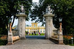 Gate to Wilanow Royal Palace park, Warsaw Stock Photos