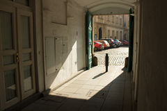 The gate to the yard. Gates to the courtyard of the historic house in Prague Royalty Free Stock Photos
