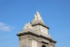 Puerta de Toledo - Gate of Toldeo, Madrid, Spain. The Gate of Toledo Puerta de Toledo is a historic city gate in Madrid, capital of Spain, with sculptures above Stock Images