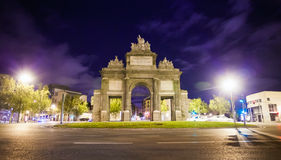Gate of Toledo (Puerta de Toledo) on a spring night in Madrid Stock Images