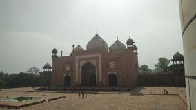 South Gate of Taj Mahal SIDE VIEW - Agra. The Gate is towards the south, Which faces the old Mumtazabad Modern Taj Ganj. It is meant for the pedestrians. On the royalty free stock photography