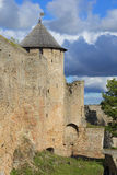 Gate tower in the background of the cloudy sky. Ivangorod fortress Royalty Free Stock Photography
