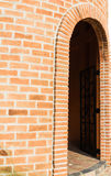 Gate tower of brick castle. On white background Royalty Free Stock Images