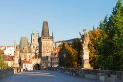Gate tower and Charles bridge, Prague Royalty Free Stock Images
