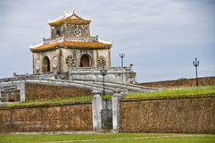 Gate tower in the Citadel wall, Hue. Gate tower in Hue Citadel, Vietnam Royalty Free Stock Photos