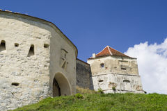 Gate tower of medieval fortress. Of Rasnov in Transylvania Stock Photos