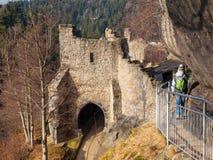 Gate tower of Oybin Castle stock image