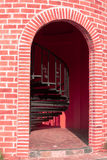 Gate tower of pink castle. On white background Stock Photo