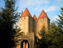 Gate Towers. Strong castle gate protected by towers in France stock image