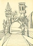 Gate with towers above the road. Portal in magic world. Hand drawing. Gate with towers above the road. Portal in magic world. Hand drawn illustration Stock Image