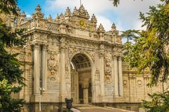 Gate of Treasury, Dolmabahce Palace, Istanbul, Turkey stock images