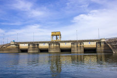 Gate of Ubolrat dam in Thailand Royalty Free Stock Photography