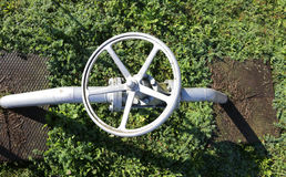 Gate valve in the plant irrigation of cultivated fields Stock Images