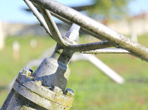 Gate valve in the plant irrigation of cultivated fields Royalty Free Stock Photo