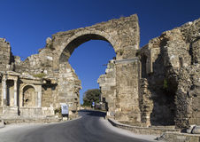 Gate of Vespasian, Side, Turkey. Ancient City Gate of Vespasian, Side, Turkey Stock Photos