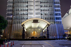 Gate view of jinmao hotel  building at night Stock Photo