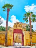 The gate of Vilhena Palace, Mdina, Malta royalty free stock image