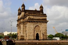 Gate way of INDIA. The Gateway of India is an arch monument built during the 20th century in Bombay, India. The monument was erected to commemorate the landing Royalty Free Stock Photo