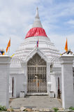 The gate of white Thai pagoda at Nonthaburi, Thailand. Royalty Free Stock Photography