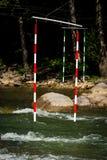 Gate of whitewater slalom Stock Photo