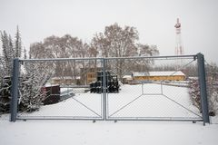 Gate in winter Stock Image