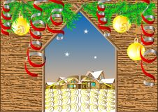 Gate in winter village. Christmas background Stock Photo