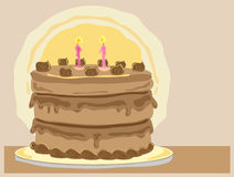 Gateaux. Hand drawn illustration of a delicious chocolate gateaux with cream and candles on a cake board and a pale brown background Royalty Free Stock Photography