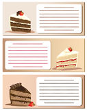 Gateaux notes. Slices of gateaux on notes. Suitable for invitations or announcemnents. Empty text box with space for your own text Stock Image