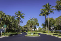Gated community road in tropics Royalty Free Stock Photos