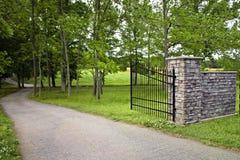 Gated driveway Stock Photo