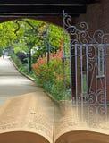 Gated memorial park bible Stock Photos