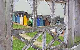 Gated path to beach huts Stock Image