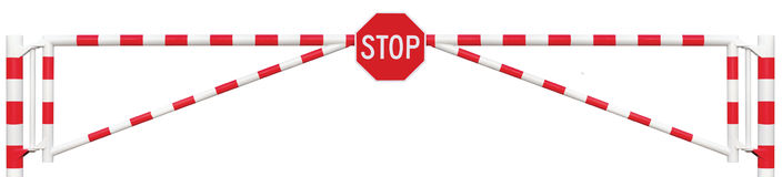 Free Gated Road Barrier Closeup, Octagonal Stop Sign Roadway Gate Bar Stock Photo - 58955870