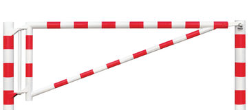 Gated Road Barrier Closeup, Roadway Gate Bar In Bright White And Red, Traffic Entry Stop Block And Vehicle Security Point Gateway Stock Images