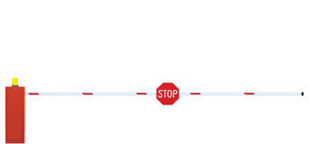 Gated Road Barrier Closeup, Roadway Gate Bar, Stop Sign, Closed Stock Photos