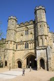 Gatehouse of Battle Abbey in Sussex stock images