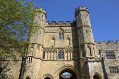 Gatehouse of Battle Abbey in Sussex stock image