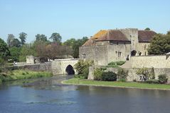 The gatehouse & bridge of Leeds Castle in Maidstone Royalty Free Stock Images