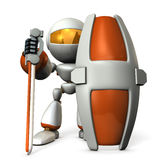 Gatekeeper robot with a large shield. Royalty Free Stock Photography
