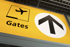Gates. To gates sign photographed at an international airport Royalty Free Stock Image