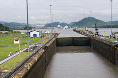 Gates and basin of Miraflores Locks Stock Image