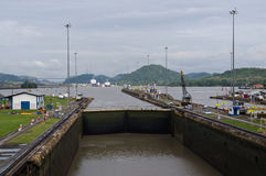 Gates and basin of Miraflores Locks Royalty Free Stock Images