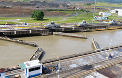 Gates and basin of Pedro Miguel Locks Stock Photography