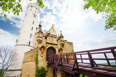 Gates and bridge of Lichtenstein castle, Germany Stock Photography