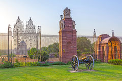 Gates with canon at entrance to House of Parliament. Delhi, India Royalty Free Stock Images