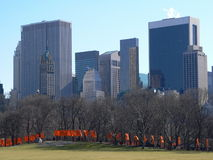 The Gates in Central Park. With the Midtown Manhattan Skyline royalty free stock photos