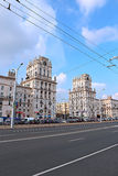 Gates of the city of Minsk - the eleven storey towers Stock Photos