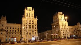 Gates of the city of Minsk - the eleven storey towers of the Stalin era stock video