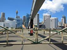 Gates closed on swing bridge Stock Image