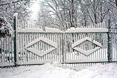 Gates covered with snow Royalty Free Stock Image